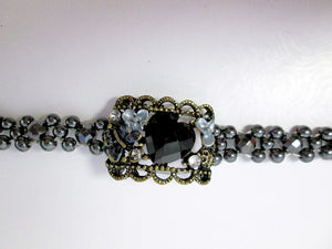 Fancy Magnetic Bracelet Antique Bronze and Black Magnetic Hematite Bracelet