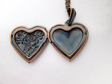 Load image into Gallery viewer, inside view of rose heart locket
