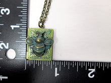 Load image into Gallery viewer, antique style book locket with measurement