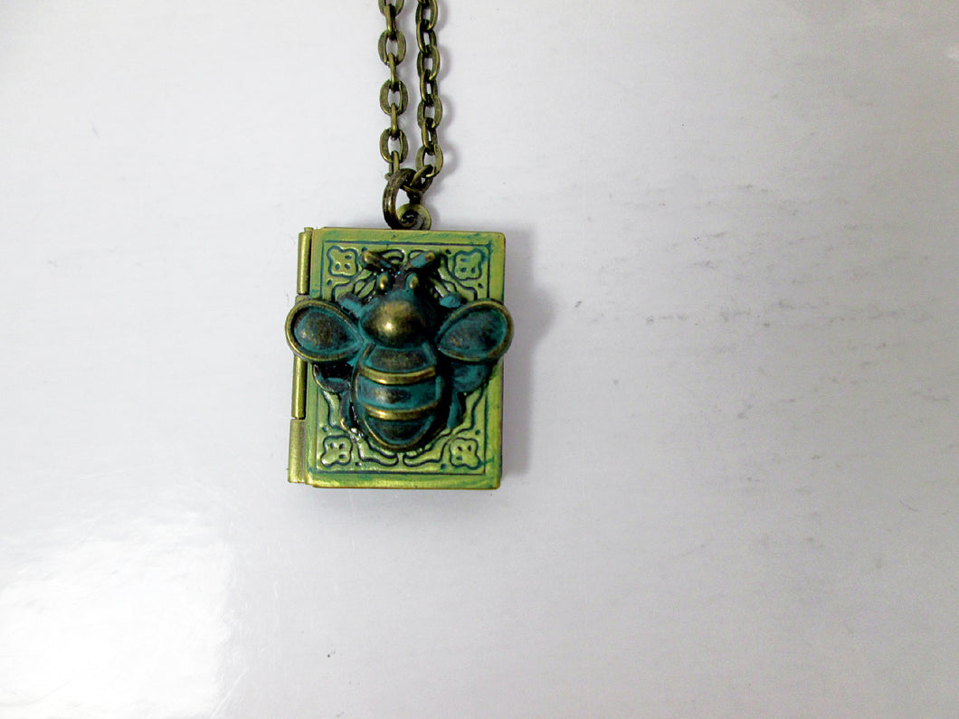 Small bee book locket necklace
