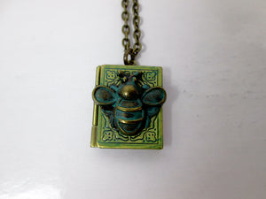small book bee locket necklace