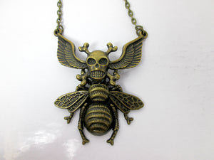 winged cross bones skull bee necklace