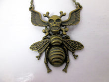 Load image into Gallery viewer, winged crossbones skull devil bee necklace