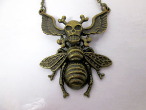 winged crossbones skull devil bee necklace