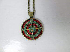 rustic red compass necklace