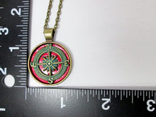 Load image into Gallery viewer, rustic red compass necklace with measurement