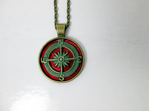 vintage inspired red compass necklace