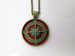 antique bronze red compass necklace