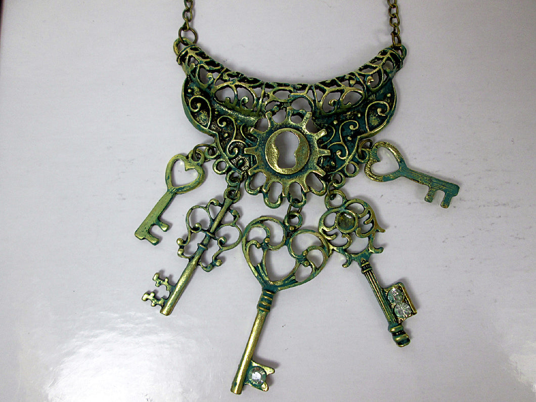 steampunk keys statement bib necklace