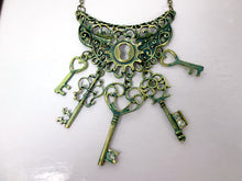 Load image into Gallery viewer, vintage inspired keys statement necklace