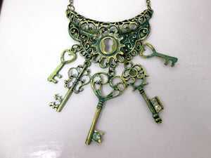 vintage inspired keys statement necklace