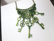 Load image into Gallery viewer, vintage inspired keys statement bib necklace