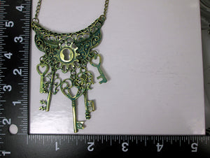 steampunk keys statement bib necklace with measurement