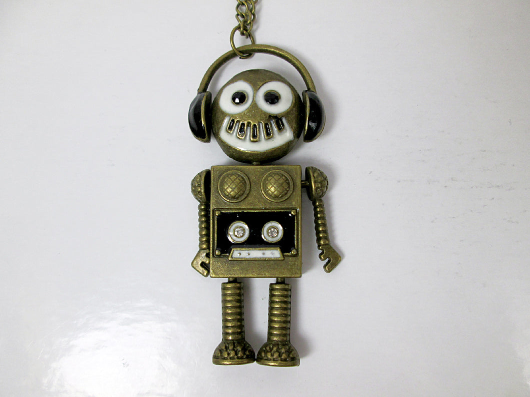 retro robot necklace