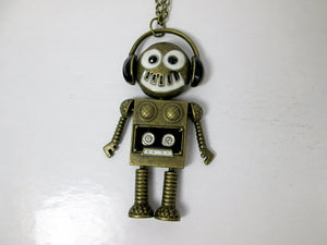 funky robot necklace