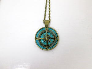 rustic blue compass necklace