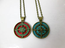 Load image into Gallery viewer, steampunk compass necklace