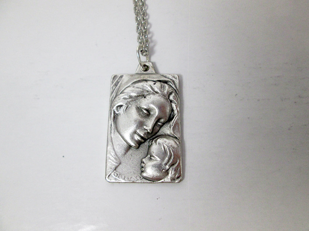 virgin Mary and baby Jesus necklace