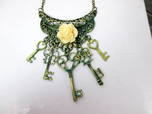 Load image into Gallery viewer, peachy rose keys bib necklace