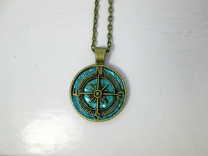 vintage inspired blue compass necklace