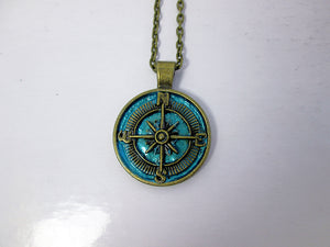 rustic blue compass necklace for unisex