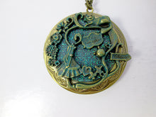 Load image into Gallery viewer, Glow In the Dark Large Fairytale Alice Cat locket necklace