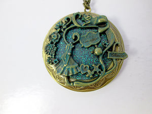 Glow In the Dark Large Fairytale Alice Cat locket necklace