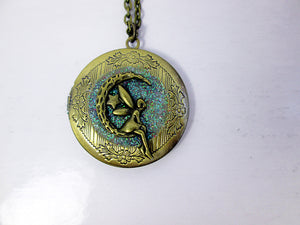 antique bronze moon fairy locket necklace