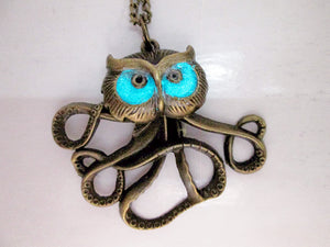Glow in the Dark Owlctopus pendant necklace