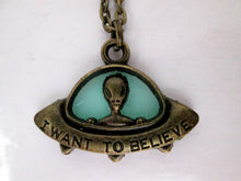 Load image into Gallery viewer, I want to believe spaceship necklace