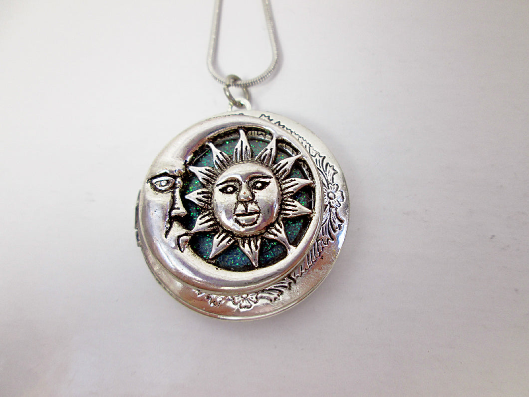 sun and moon face locket