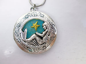 mermaid locket pendant necklace