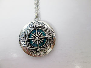 compass locket pendant necklace