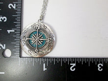 Load image into Gallery viewer, compass locket necklace with measurement