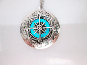 glow in the dark compass locket necklace