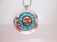 Load image into Gallery viewer, glow in the dark sun and moon locket necklace