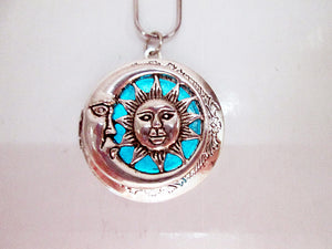glow in the dark sun and moon locket necklace