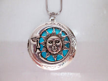 Load image into Gallery viewer, glow in the dark moon and sun locket pendant