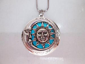 glow in the dark moon and sun locket pendant