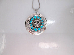 glow moon and sun locket necklace