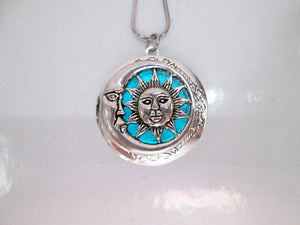 glowing moon and sun locket necklace