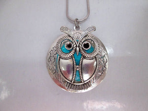 glowing owl locket pendant necklace