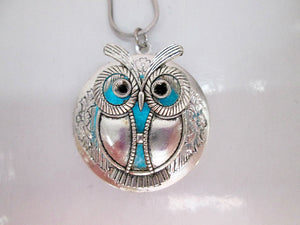 Glow owl locket neckalce