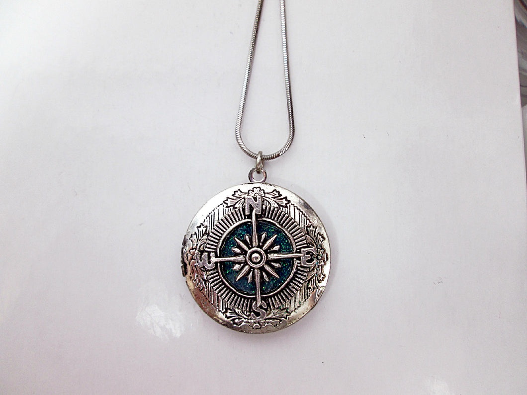 compass locket necklace