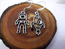 Load image into Gallery viewer, astronaut and rocket spaceship mis-match earrings