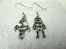 Load image into Gallery viewer, astronaut and rocket spaceship earrings