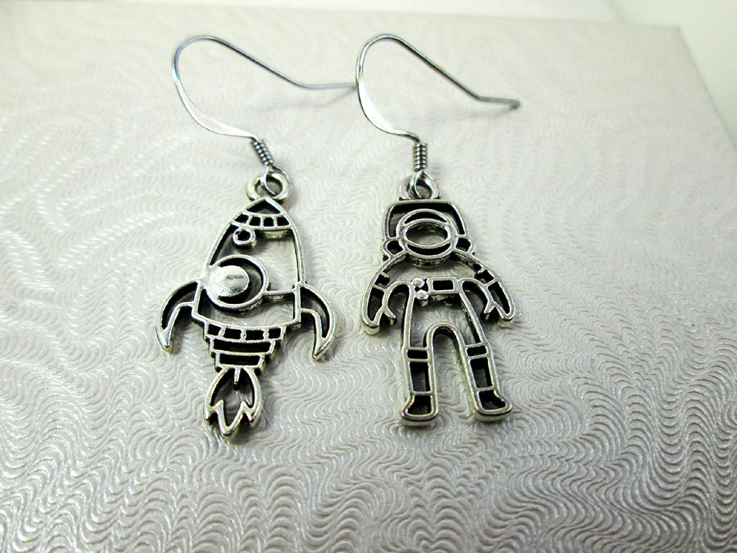astronaut and rocket spaceship earrings