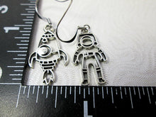Load image into Gallery viewer, rocket spaceship and astronaut earrings with measurement