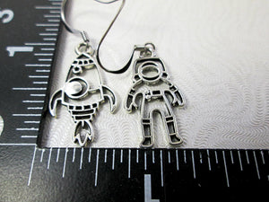 rocket spaceship and astronaut earrings with measurement