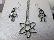 Load image into Gallery viewer, solar planets necklace and rocket and astronaut earrings set